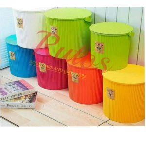 Round multipurpose storage bucket