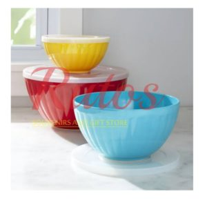Set of 3 Ceramic Bowls With Lid
