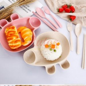 Piggy Wheat Plate With Cutlery Set For Kids
